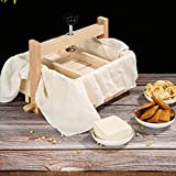 Kit de máquina de tofu, prensa de tofu, máquina de queso de tofu de madera duradera con 3 piezas de tela, juego de máquina de tofu casera, máquina de queso y prensa 2 en 1, para el hogar, bricolaje
