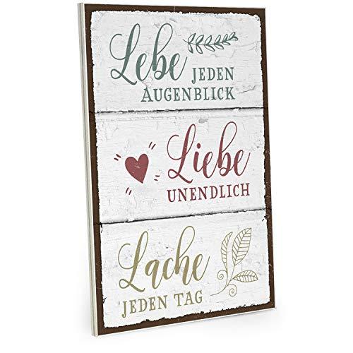 ARTFAVES Holzschild mit Spruch - Lebe Liebe Lache - Vintage Shabby Deko-Wandbild/Türschild