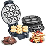 VonShef 3-in-1 Waffle Maker, Brownie & Doughnut Maker - Removable Non-Stick Plates, Cool Touch Body & Matte Black Design - 700W