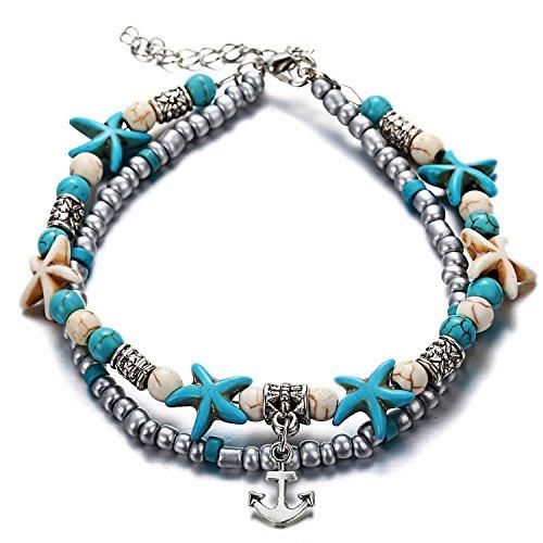 Softones Tobillera de tortuga de estrella de mar azul con cuentas de múltiples capas hechas a mano bohemio, para mujeres y niñas