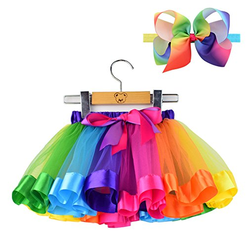 BGFKS LayeredTulle Rainbow Tutu Skirt for Newborn Baby Girls 1st Birthday Photography Outfit Sets.