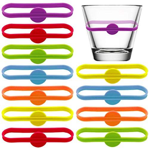 BOSSTER Trinken Marker 12 stück Glasmarkierer Silikon Bunte Bierglas Tasse Vino Wein Cocktail Glasflaschenstreifen Tag Marker für Party Lösung