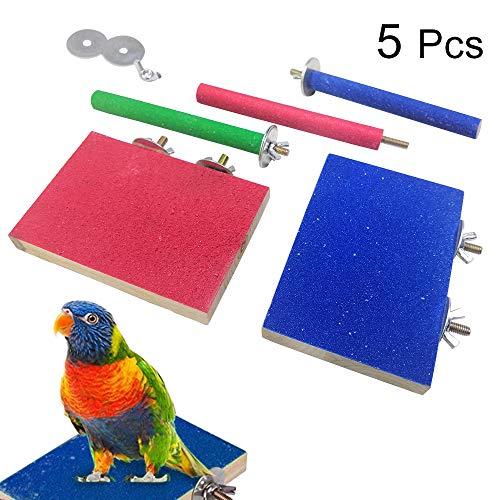 5 Pezzi di Piattaforma per Posatoio per Uccelli Accessori per Gabbia in Legno per Parco Giochi Supporti per Rettifica di Zampe per Pappagallo Uccello del Pesce Persico