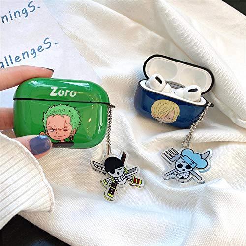 Funda protectora para auriculares con diseño de anime de One Piece Ruffy, compatible con Airpods 1 y 2 Pro Bluetooth inalámbrica, carcasa protectora protectora para el IMD Sanji + gancho de metal
