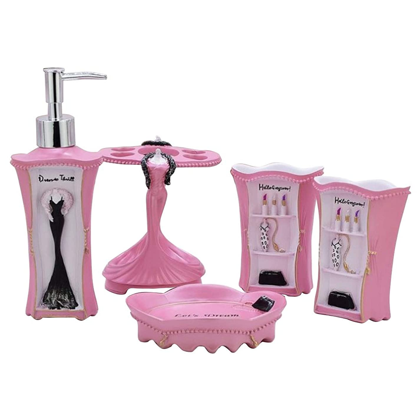 活気づけるバタフライ性差別CAFUTY 5個セット浴室用アクセサリーセットピュア?イン?ピンクバス用アクセサリーバスタブセットローションボトル、歯ブラシホルダー、歯ブラシ* 2、石けんディッシュ (Color : ピンク)