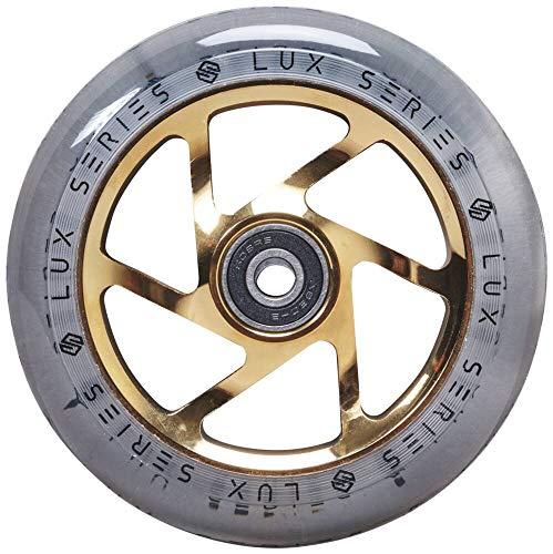 Striker Lux Stunt - Rueda para patinete (110 mm), color dorado y transparente