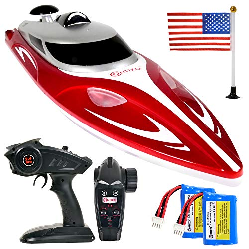 Contixo T1+ RC Boat Remote Control Boats for Pools and Lakes, 20+ mph 2.4 GHz Racing Boats for Kids and Adults with 2 Rechargeable Batteries, Low Battery Alarm, Capsize Recovery, Gifts for Boys Girls