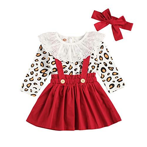 Carolilly 3 Pezzi Completo Bambina Stampa Leopardato Pagliccetto a Manica Lunga in Pizzo+Vestito Bambina Principessa + Fascia per Neonata da Natale Festa Cerimonia (Rosso, 18-24 Mesi)