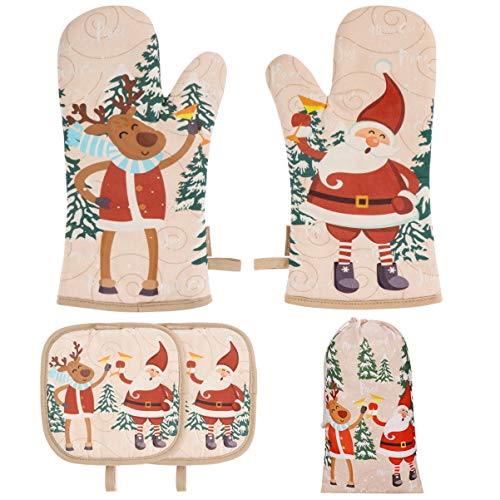 BESTONZON Cute Christmas Oven Mitt - 1 Set Heat Resistant Oven Gloves and Pot Holders with Christmas Designs Perfect Christmas Gift for Xmas Kitchen Decoration