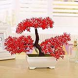 Zunbo Bonsai Artificial, Jardinera de Plástico para Árboles, Bonsai de Plantas de Simulación, Planta en Maceta de Pino de Bienvenida, para Jardín/ Casa/ Oficina/ Sala de Estar, de Color Rojo