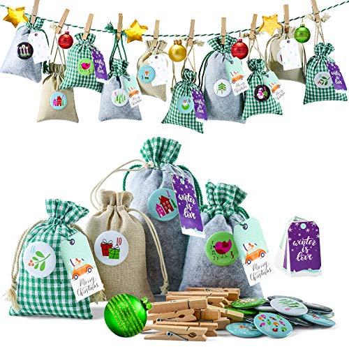 Gallop Chic Adventskalender zum Befüllen Weihnachtskalender Stoffbeutel zum Selberfüllen, 24 Groß Stoffsäckchen Kette zum selber befüllbar und Aufhängen, Grün Grau Jutesäckchen für Kinder Männer