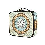 LUPINZ Bolsa de cosméticos con patrón de signo del zodiaco, bolsa organizadora de viaje para niña