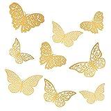 36 pezzi 3D farfalle adesivi da parete decorazione casa stickers murali, decorativi da parete per la festa di compleanno decorazione della camera da letto di nozze decorazioni per la casa (oro)