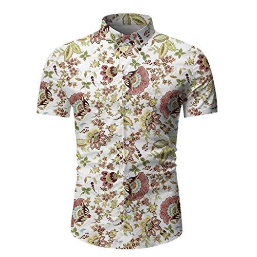 KINGOLDON Men Casual Hawaiian T-Shirt Summer Printed Button Short Sleeve Top Blouse White