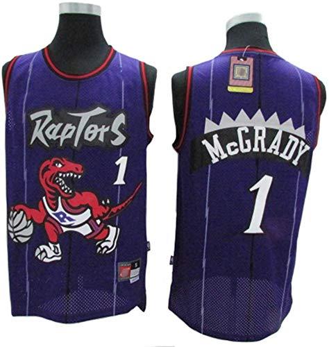 SP-Sport Tracy McGrady Basketball Maglia NBA Toronto Raptors 1# Jersey, Retro Jersey Classico, Comodo/Leggero/Traspirante Ricamati Mesh Unisex Felpa,A,S(165~170CM/50~65KG)