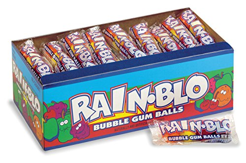 Rain-Blo Bubble Gum Balls, 0.53 Ounce Tube, Pack Of 48