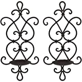 Ticco Wall Candle Sconce Set of 2 Wrought Iron Candle Holder Hanging Wall Mounted Candle Sconces for Living Room Home Decor, Black