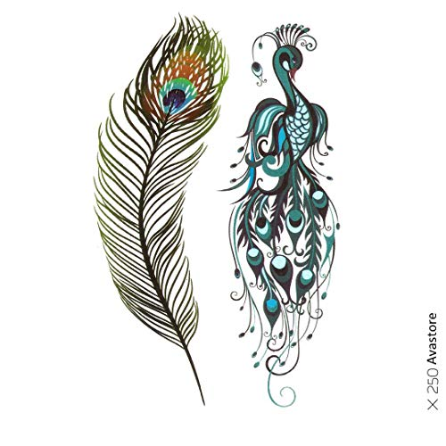 Avastore Temporäre Tattoos für Damen, Pfau, Feder, Tattoo, Pfau, für Damen