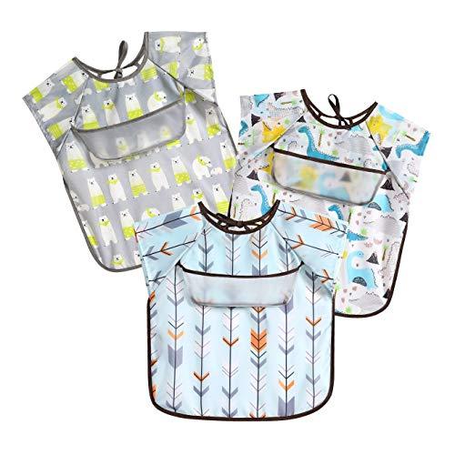 PandaEar Short Sleeve Bib 3-Pack Set| Waterproof Apron Smock Pocket Crumb Catcher |