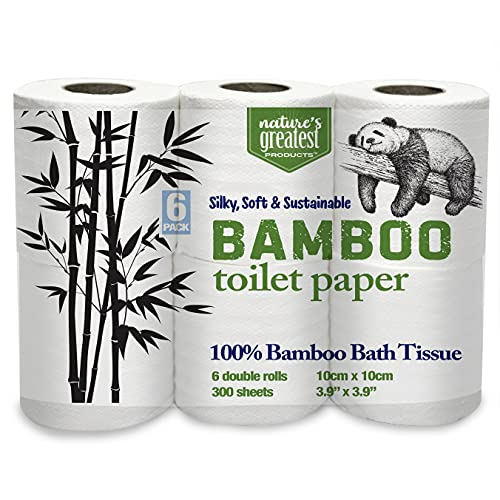 Natures Greatest, 100% Bamboo & Sugarcane Toilet Paper, 2 Ply, 300 Sheets, 6 Rolls, Packaging May Vary