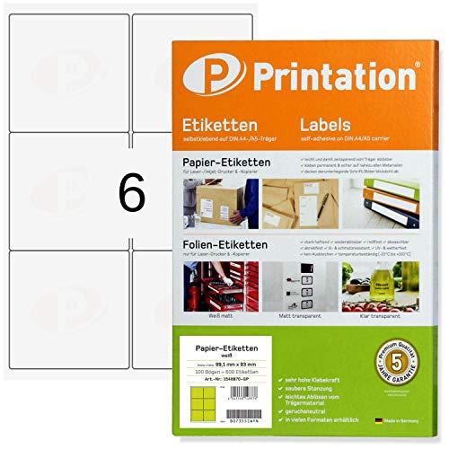 Universal Adress- Versand-Etiketten 99,1 x 93 mm klebend weiß 600 99,1x93 Labels auf 100 DIN A4 Bogen 2x3 - abgerundete Ecken - 4653 4502 L7166