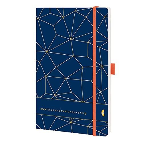 Chronoplan 50462 Buchkalender Kalendarium 2022, im A5 Format (135x210mm) mit Softcover, Wochenplaner (1 Woche auf 2 Seiten, mit Stiftschlaufe, Einmerkband, Gummiverschluss), Lattice, Deep Ocean Blue