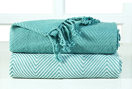 EHC–Juego 2Zigzag algodón Single Manta sofá