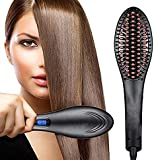 MINATO Hair Electric Comb Brush 3 in 1 Ceramic Fast Hair Straightener For Women's Hair Straightening Brush with LCD Screen, Temperature Control Display,Hair Straightener For Women (BLACK)
