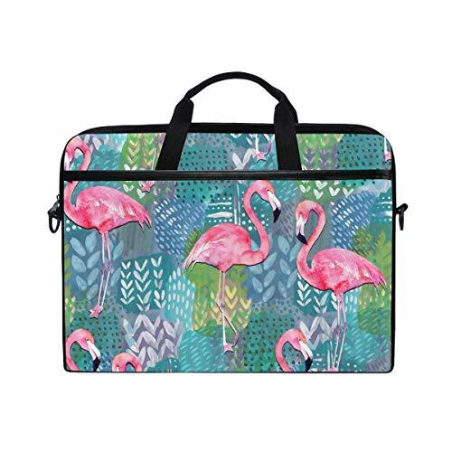Watercolor Flamingo Bolsa de hombro para portátil, diseño de pájaros tropicales de verano, para hombres y mujeres, bolsa de transporte portátil para ordenador portátil o tableta