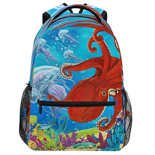 Oarencol mochila bajo el agua medusas pulpo mochila colorido animal arrecife bolsa de día de viaje senderismo camping escuela portátil