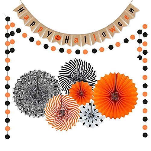 YBB Halloween Party Decorations Kit Banner Set, Happy Halloween Burlap Banner,Hanging Paper Fans And Orange & Black Circle Banner Garland for Home Halloween Party Backdrop Decoration Supplies