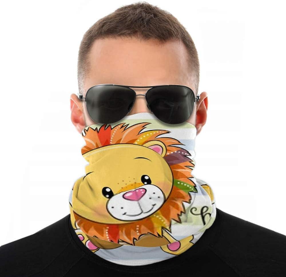 Headbands For Men Women Neck Gaiter, Face Mask, Headband, Scarf Cute Cartoon Lion Playing Guitar On Turban Multi Scarf Double Sided Print Elastic Headbands For Sport Outdoor