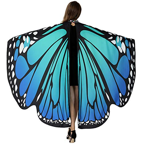 HITOP Butterfly Wings for Women, Butterfly Shawl Fairy Ladies Cape Nymph Pixie Costume Accessory (Blue)