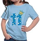 Hariz – Camiseta para niña, corona de príncipe 11 cumpleaños Números Plus tarjetas de regalo azul cielo 152 cm(12-13 År)