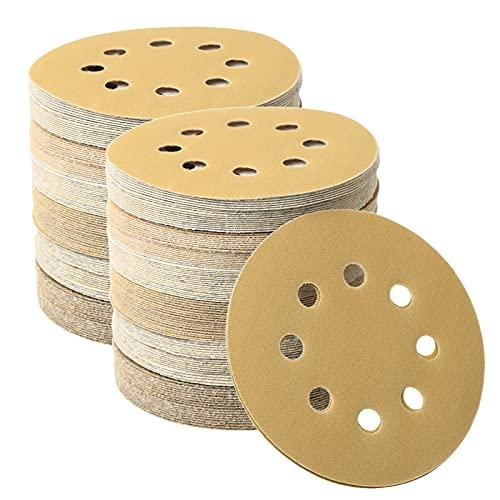 126 Pcs Orbital Sander Sandpaper 5 Inch Sanding Discs Hook and Loop Sanding Discs 5 Inch 8 Hole 60 80 120 180 240 400 600 Grit Sanding Disc (126 PCS, 60-600 GRIT)
