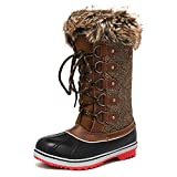 DREAM PAIRS Women's River_1 Brown Mid Calf Winter Snow Boots Size 8 M US