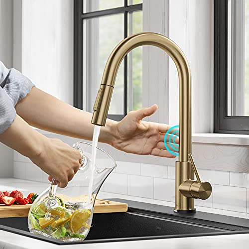 Kraus KTF-3104BG Oletto ContemporarySingle-HandleTouch KitchenSink Faucet with Pull Down Sprayer, Brushed Gold