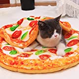 Pizza Pattern Pet Cat 20.8' Round Bed Mats and 15.7' Blanket 2 Pcs Set Creative Pets Supplies