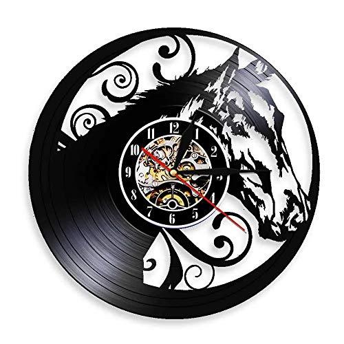 LKJHGU Diseño de Cabeza de Caballo Disco de Vinilo Reloj de Pared Semental Silueta de Caballo Interior Arte de Pared Moderno Decoración del hogar Reloj Ecuestre Regalo