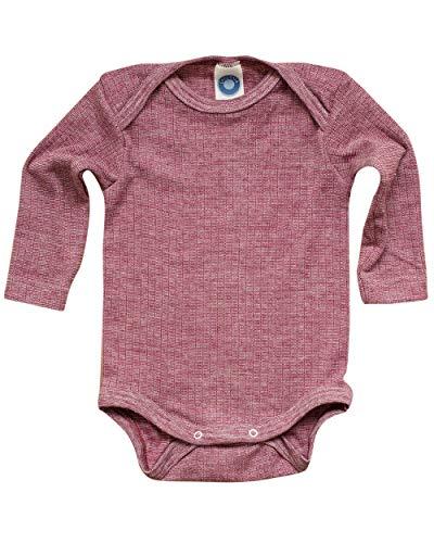 Cosilana, Baby Body Langarm,45% KBA Baumwolle, 35% kbT Wolle, 20% Seide (74/80, Weinrot meliert)