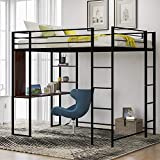 Full Size Metal Loft Bed with 2 Ladder and one Desk, Length Guardrail, Space-Saving Design, No Box Spring Needed (Black)