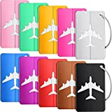 10 Pieces Luggage Tags Business Card Holder Aluminium Metal Travel ID Bag Tag for Travel Luggage Baggage Identifier (Mixed Colors)