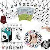 84 Pack Panda Party Supplies Favors, Panda Goodie bags Panda Squishy Toys Gift Bags for Kids Panda Bear Birthday Baby Shower Gift Necklaces Keychains Rings Brooch Stickers