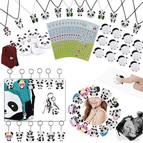 Panda Party Supplies Favors, Panda Goodie Bags Panda Squishy Toys Bolsas de regalo para niños Panda Bear Collares de cumpleaños Llaveros Anillos Broche Pegatinas