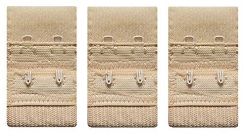 3er Set BH - Verlängerungen je 25mm breit 2Haken-Verschluss in beige - hautfarben