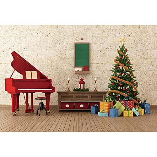 Leowefowa 2,2x1,5m Vinilo Navidad Telon de Fondo Árbol de Navidad Decoración Interior Regalos Piano Suelo de Madera Sesiones de Fotos Fiesta de año Nuevo Accesorios Estudio Fondos fotografía