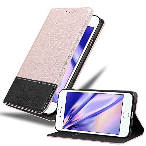 Cadorabo Hülle für Apple iPhone 6 / iPhone 6S in ROSÉ Gold SCHWARZ – Handyhülle mit Magnetverschluss, Standfunktion und Kartenfach – Case Cover Schutzhülle Etui Tasche Book Klapp Style