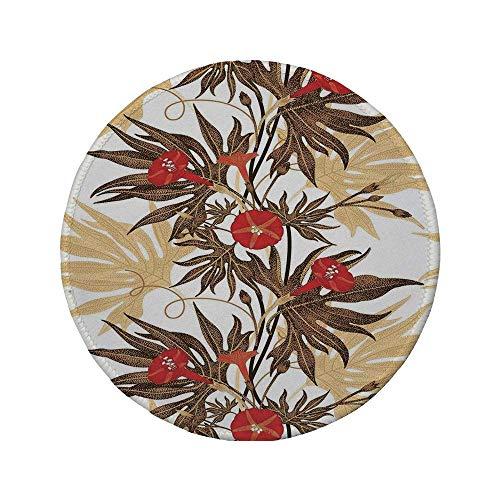 Rutschfreies Gummi-rundes Mauspad florale exotische Kletterpflanze Ivy Flowers Leaves Vintage Blooms Botanisches Kunstwerk Braun Sand Braun Rot 7.9