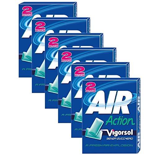Vigorsol Air Action Gomme da Masticare Senza Zucchero Multipack Astuccio, Chewing Gum Gusto Menta, 6 Confezioni da 2 Astucci, 12 Astucci