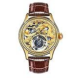 North King Piedras Preciosas mecánico Reloj Lujo Amarillo Dial marrón Cuero Banda Adornado 3D Relieve 24K Plateado Reloj de Pulsera de Hombre Oro